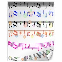 Notes Tone Music Rainbow Color Black Orange Pink Grey Canvas 12  X 16   by Alisyart