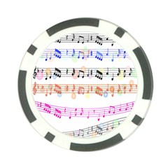 Notes Tone Music Rainbow Color Black Orange Pink Grey Poker Chip Card Guard