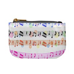 Notes Tone Music Rainbow Color Black Orange Pink Grey Mini Coin Purses