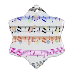 Notes Tone Music Rainbow Color Black Orange Pink Grey Snowflake Ornament (two Sides)