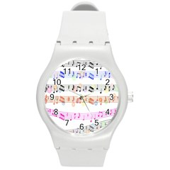 Notes Tone Music Rainbow Color Black Orange Pink Grey Round Plastic Sport Watch (m)
