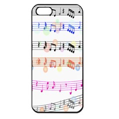 Notes Tone Music Rainbow Color Black Orange Pink Grey Apple Iphone 5 Seamless Case (black)