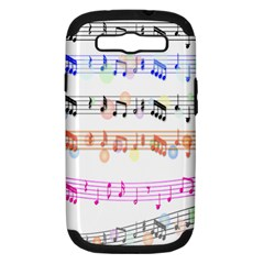 Notes Tone Music Rainbow Color Black Orange Pink Grey Samsung Galaxy S Iii Hardshell Case (pc+silicone)