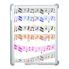 Notes Tone Music Rainbow Color Black Orange Pink Grey Apple Ipad 3/4 Case (white)