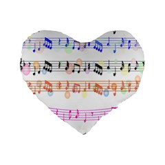 Notes Tone Music Rainbow Color Black Orange Pink Grey Standard 16  Premium Heart Shape Cushions