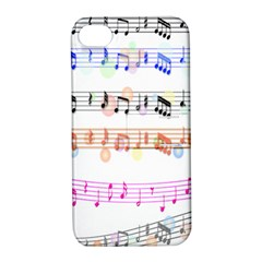 Notes Tone Music Rainbow Color Black Orange Pink Grey Apple Iphone 4/4s Hardshell Case With Stand