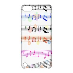 Notes Tone Music Rainbow Color Black Orange Pink Grey Apple Ipod Touch 5 Hardshell Case With Stand