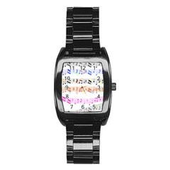 Notes Tone Music Rainbow Color Black Orange Pink Grey Stainless Steel Barrel Watch by Alisyart