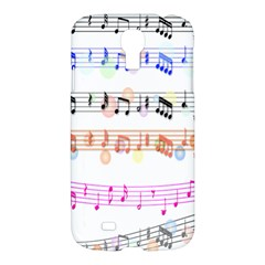 Notes Tone Music Rainbow Color Black Orange Pink Grey Samsung Galaxy S4 I9500/i9505 Hardshell Case
