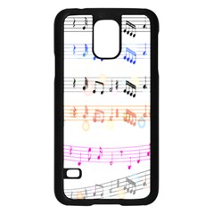 Notes Tone Music Rainbow Color Black Orange Pink Grey Samsung Galaxy S5 Case (black)