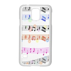 Notes Tone Music Rainbow Color Black Orange Pink Grey Samsung Galaxy S5 Case (white)