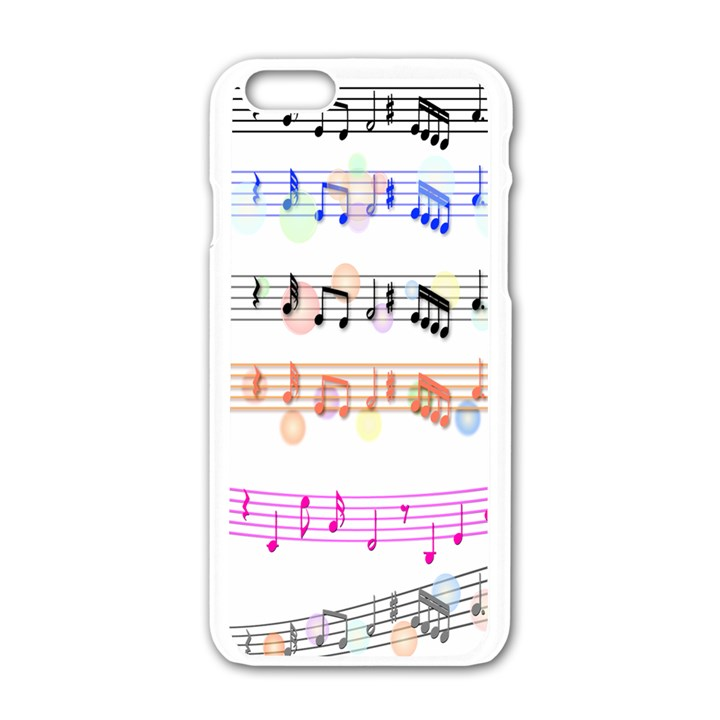 Notes Tone Music Rainbow Color Black Orange Pink Grey Apple iPhone 6/6S White Enamel Case