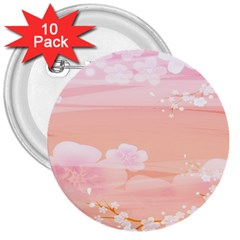 Season Flower Floral Pink 3  Buttons (10 Pack)