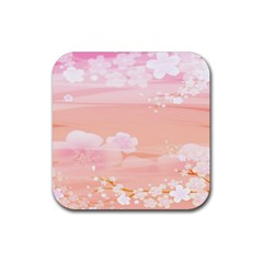 Season Flower Floral Pink Rubber Square Coaster (4 Pack)