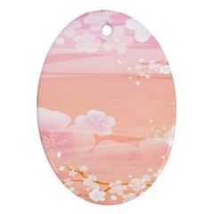 Season Flower Floral Pink Oval Ornament (two Sides)