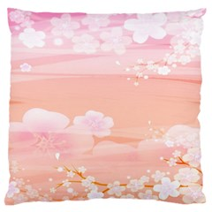 Season Flower Floral Pink Large Flano Cushion Case (two Sides)