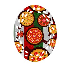 Pizza Italia Beef Flag Oval Filigree Ornament (two Sides)