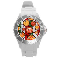 Pizza Italia Beef Flag Round Plastic Sport Watch (l) by Alisyart