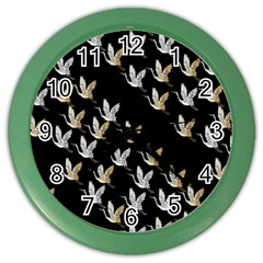 Goose Swan Gold White Black Fly Color Wall Clocks by Alisyart