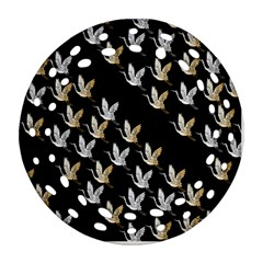 Goose Swan Gold White Black Fly Round Filigree Ornament (two Sides)