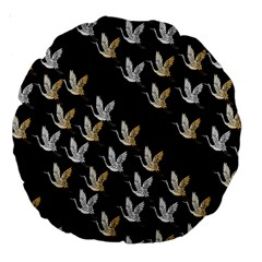 Goose Swan Gold White Black Fly Large 18  Premium Round Cushions