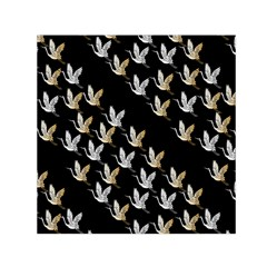 Goose Swan Gold White Black Fly Small Satin Scarf (square)