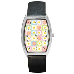 Season Flower Sunflower Blue Yellow Purple Pink Barrel Style Metal Watch