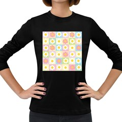 Season Flower Sunflower Blue Yellow Purple Pink Women s Long Sleeve Dark T Shirts