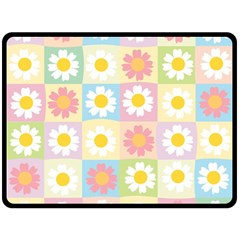 Season Flower Sunflower Blue Yellow Purple Pink Fleece Blanket (large)