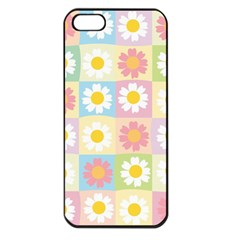 Season Flower Sunflower Blue Yellow Purple Pink Apple Iphone 5 Seamless Case (black)