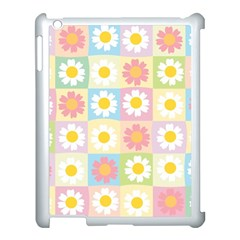 Season Flower Sunflower Blue Yellow Purple Pink Apple Ipad 3/4 Case (white)