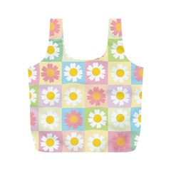 Season Flower Sunflower Blue Yellow Purple Pink Full Print Recycle Bags (m)