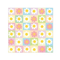 Season Flower Sunflower Blue Yellow Purple Pink Small Satin Scarf (square)