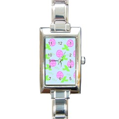 Spring Flower Tulip Floral Leaf Green Pink Rectangle Italian Charm Watch by Alisyart