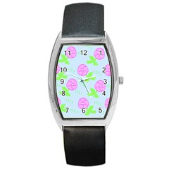 Spring Flower Tulip Floral Leaf Green Pink Barrel Style Metal Watch