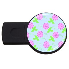 Spring Flower Tulip Floral Leaf Green Pink Usb Flash Drive Round (4 Gb)
