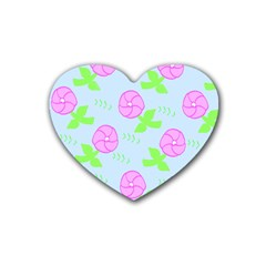 Spring Flower Tulip Floral Leaf Green Pink Rubber Coaster (heart)  by Alisyart