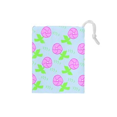 Spring Flower Tulip Floral Leaf Green Pink Drawstring Pouches (small)