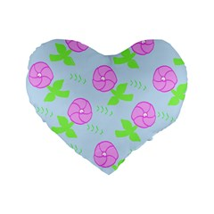 Spring Flower Tulip Floral Leaf Green Pink Standard 16  Premium Flano Heart Shape Cushions by Alisyart