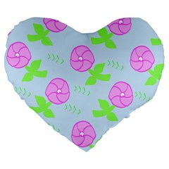 Spring Flower Tulip Floral Leaf Green Pink Large 19  Premium Flano Heart Shape Cushions by Alisyart