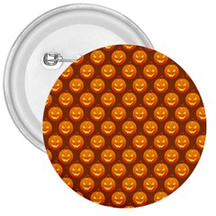Pumpkin Face Mask Sinister Helloween Orange 3  Buttons by Alisyart