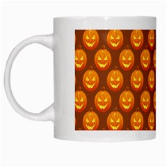 Pumpkin Face Mask Sinister Helloween Orange White Mugs by Alisyart