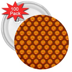 Pumpkin Face Mask Sinister Helloween Orange 3  Buttons (100 Pack)  by Alisyart