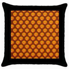 Pumpkin Face Mask Sinister Helloween Orange Throw Pillow Case (black) by Alisyart