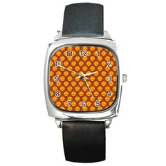 Pumpkin Face Mask Sinister Helloween Orange Square Metal Watch by Alisyart