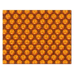 Pumpkin Face Mask Sinister Helloween Orange Rectangular Jigsaw Puzzl by Alisyart