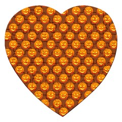Pumpkin Face Mask Sinister Helloween Orange Jigsaw Puzzle (heart) by Alisyart