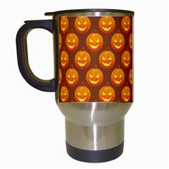 Pumpkin Face Mask Sinister Helloween Orange Travel Mugs (white) by Alisyart