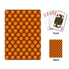 Pumpkin Face Mask Sinister Helloween Orange Playing Card by Alisyart