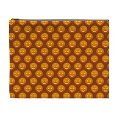 Pumpkin Face Mask Sinister Helloween Orange Cosmetic Bag (xl) by Alisyart